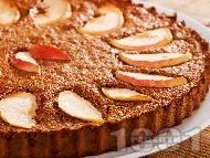 Бърз и лесен меден кекс (сладкиш) с парченца ябълки, грис, канела и какао за десерт (със сода, без захар)